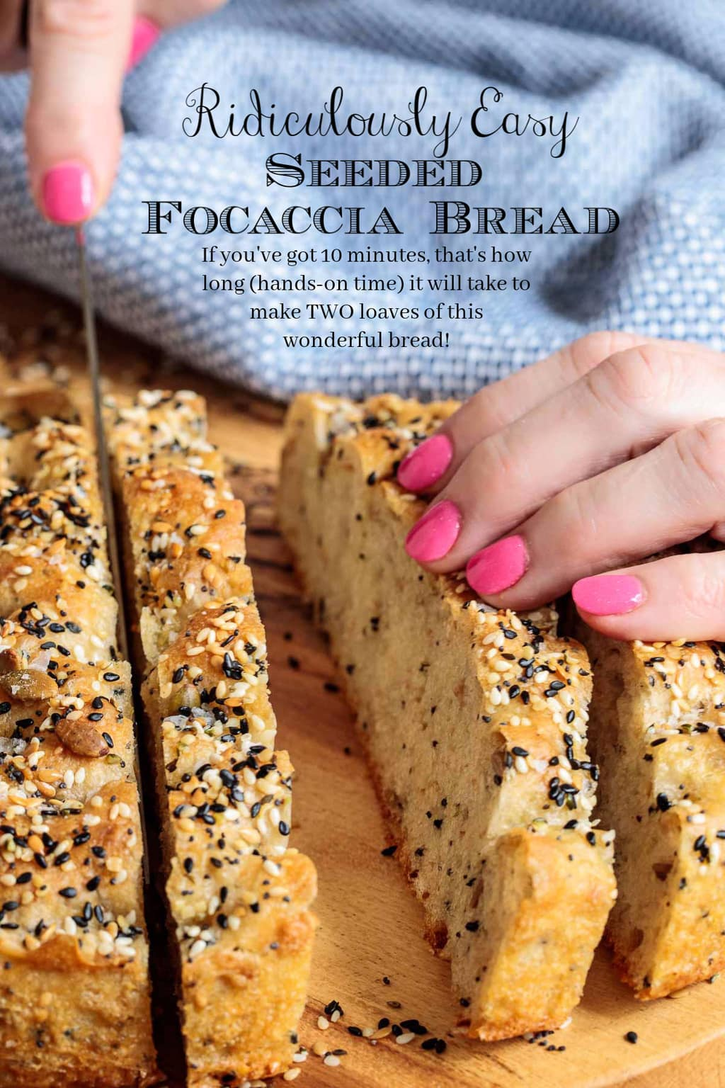 Loaded with healthy seeds and a generous scoop of whole wheat flour, this ridiculously easy, one-bowl, no-knead Seeded Focaccia Bread is also no-knead delicious! #easyfocaccia, #focacciabread, #healthyfocaccia, #seededfocaccia