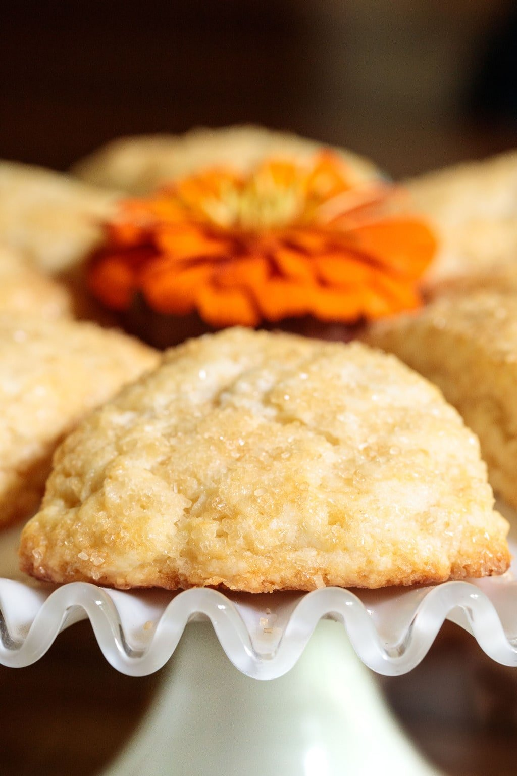 Close up photo of a Sugar Top Scone decorated with an orange flower in the center of the plate.