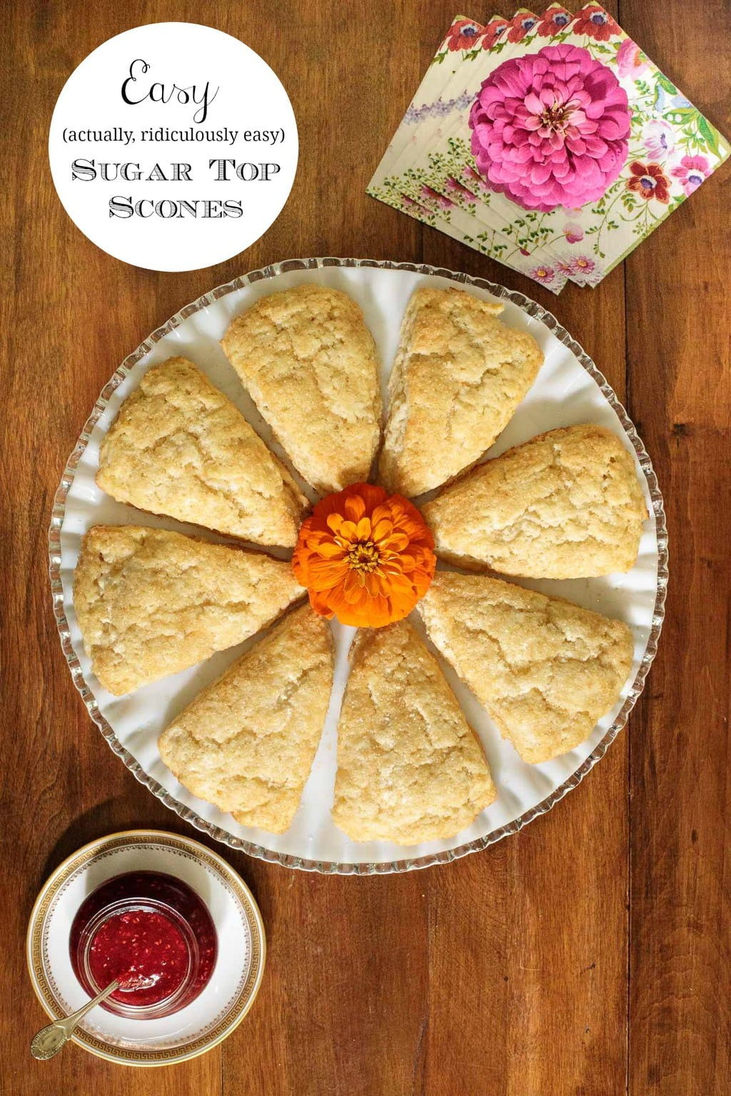 The easiest and most melt-in-your-mouth delicious scones ever! These easy sugar top scones can be made ahead and frozen (unbaked) for fuss-free entertaining too! #easyscones, #plainscones, #freezingscones, #howtomakescones