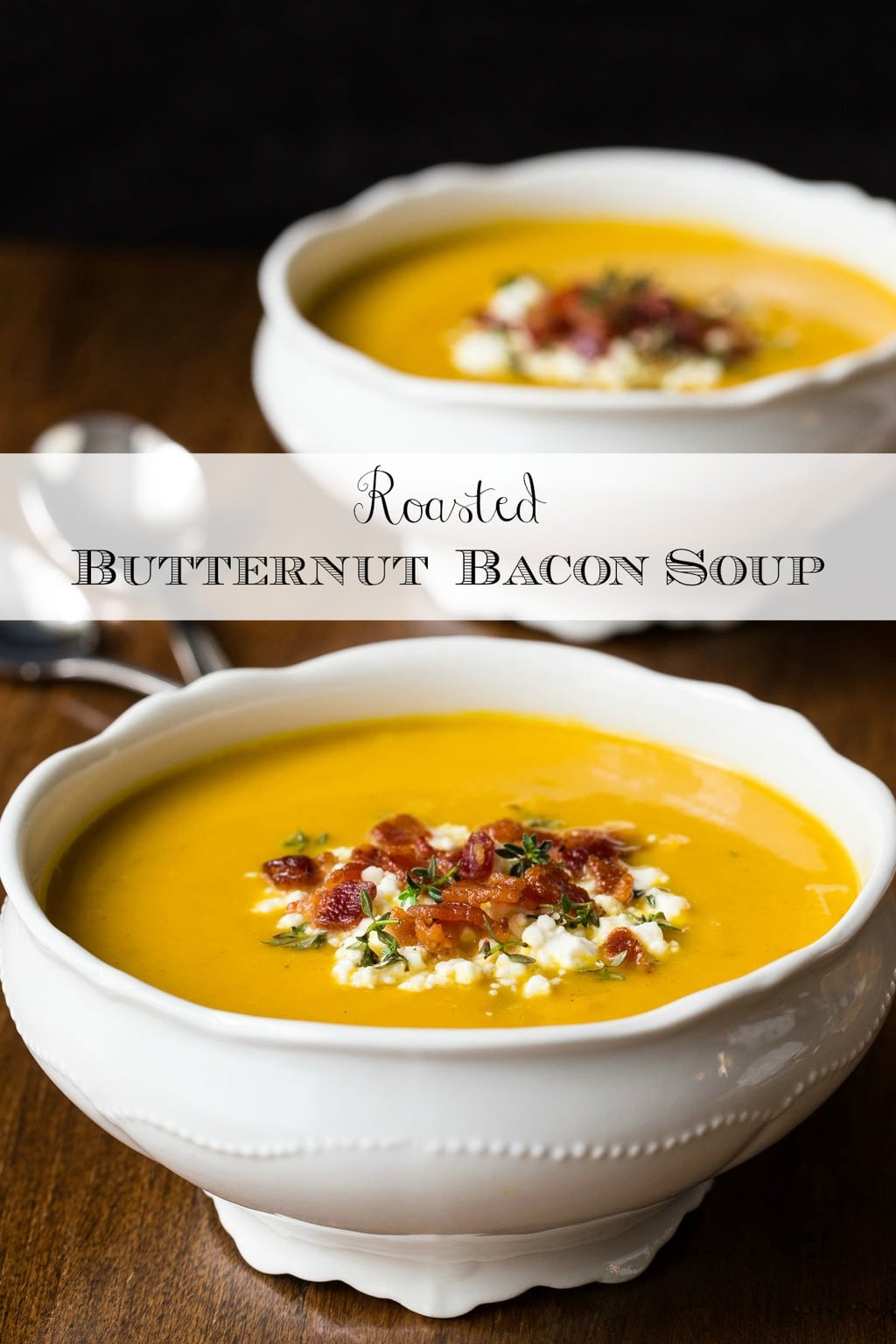 Healthy, elegant and full of flavor, this delicious Roasted Butternut Bacon Soup is perfect for lunches, casual dinners, and meals on the run! It also makes a wonderful appetizer soup! #butternut soup, #butternutsquashsoup, #easyfallsoup, #squash soup