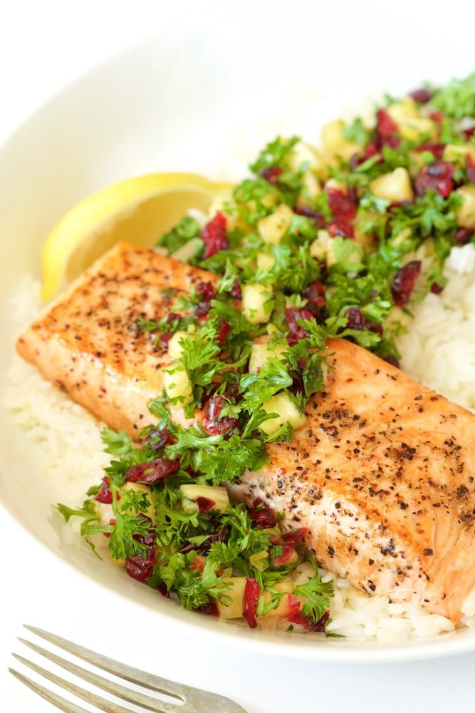 Pan Roasted Salmon with Parsley Pineapple Relish