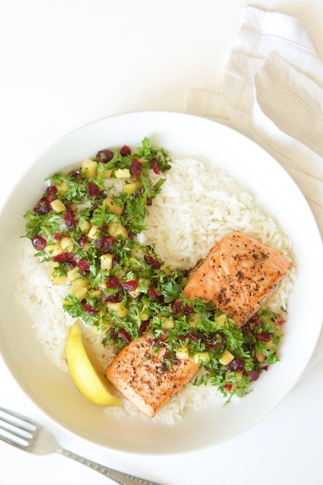Pan Roasted Salmon with Parsley Pineapple Relish - a healthy delicious dinner that comes together in less than 30 minutes! The relish takes simple salmon to dinner party status! thecafesucrefarine.com