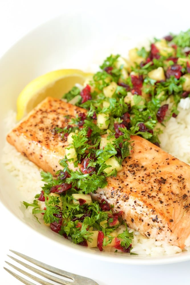 Pan Roasted Salmon with Parsley Pineapple Relish - a healthy delicious dinner that comes together in less than 30 minutes! The relish takes simple salmon to dinner party status! www.thecafesucrefarine.com