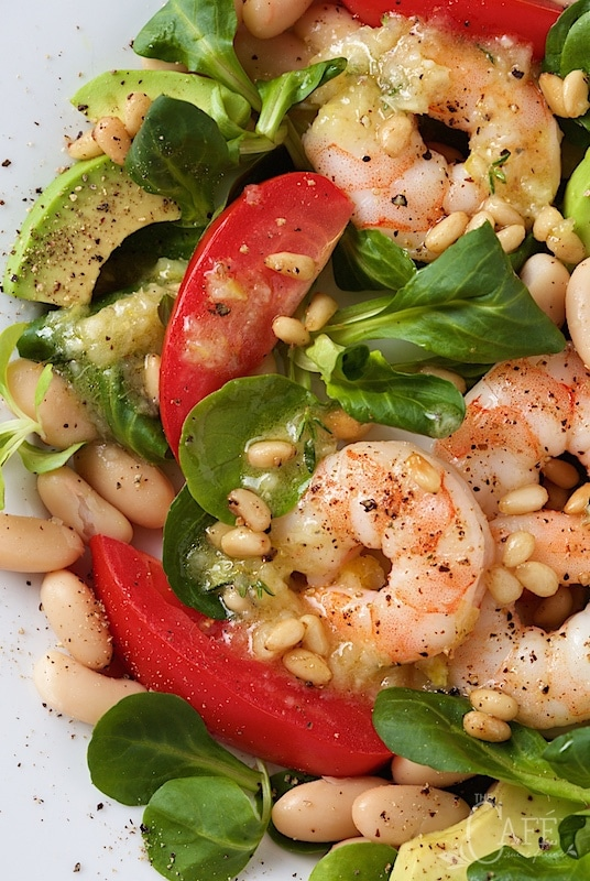 Roasted Shrimp, Tomato and White Bean Salad - it's easy enough for a weeknight dinner but elegant enough for your fanciest company - and it always brings rave reviews! thecafesucrefarine.com