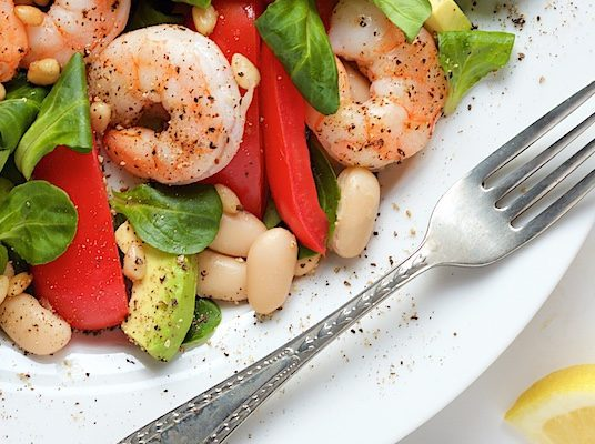 Broiled Shrimp With Tomatoes And White Beans Recipe — Dishmaps