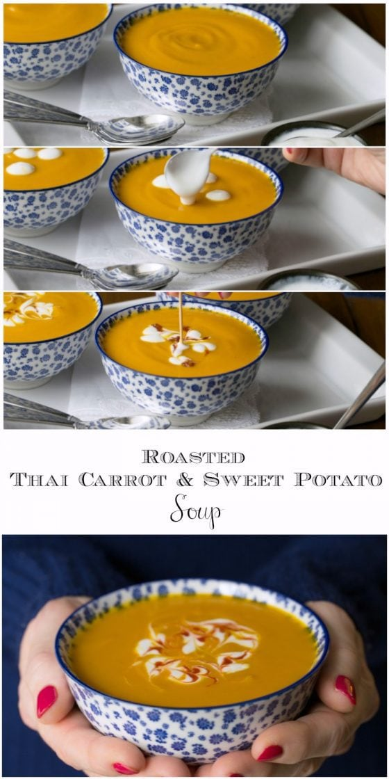 Roasted Thai Carrot and Sweet Potato Soup - if you love lots of flavor, but want to cut back a bit on calories, this delicious Thai-inspired soup is perfect for you! thecafesucrefarine.com