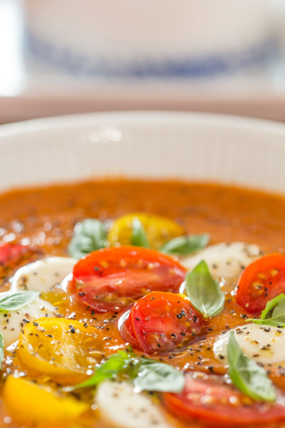 Extreme close up picture of Roasted Tomato Lentil Soup Caprese