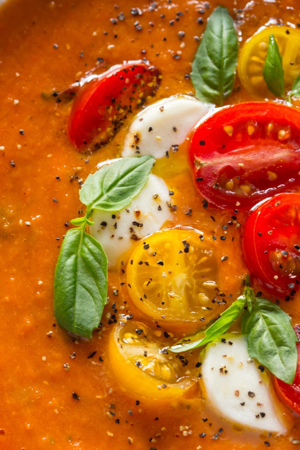 Extreme close up of Roasted Tomato Lentil Soup Caprese