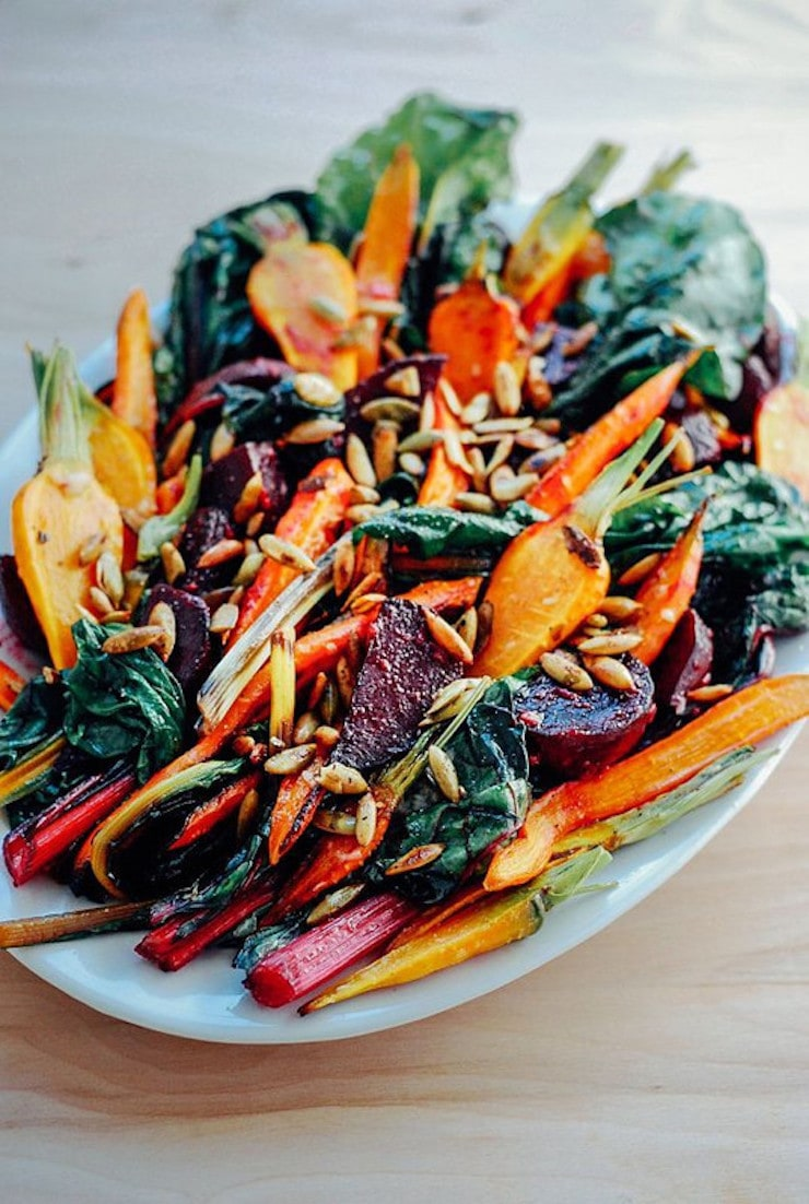 One of 15 Delicious Fall Salads - Photo of a serving platter of Roasted Vegetable Salad.