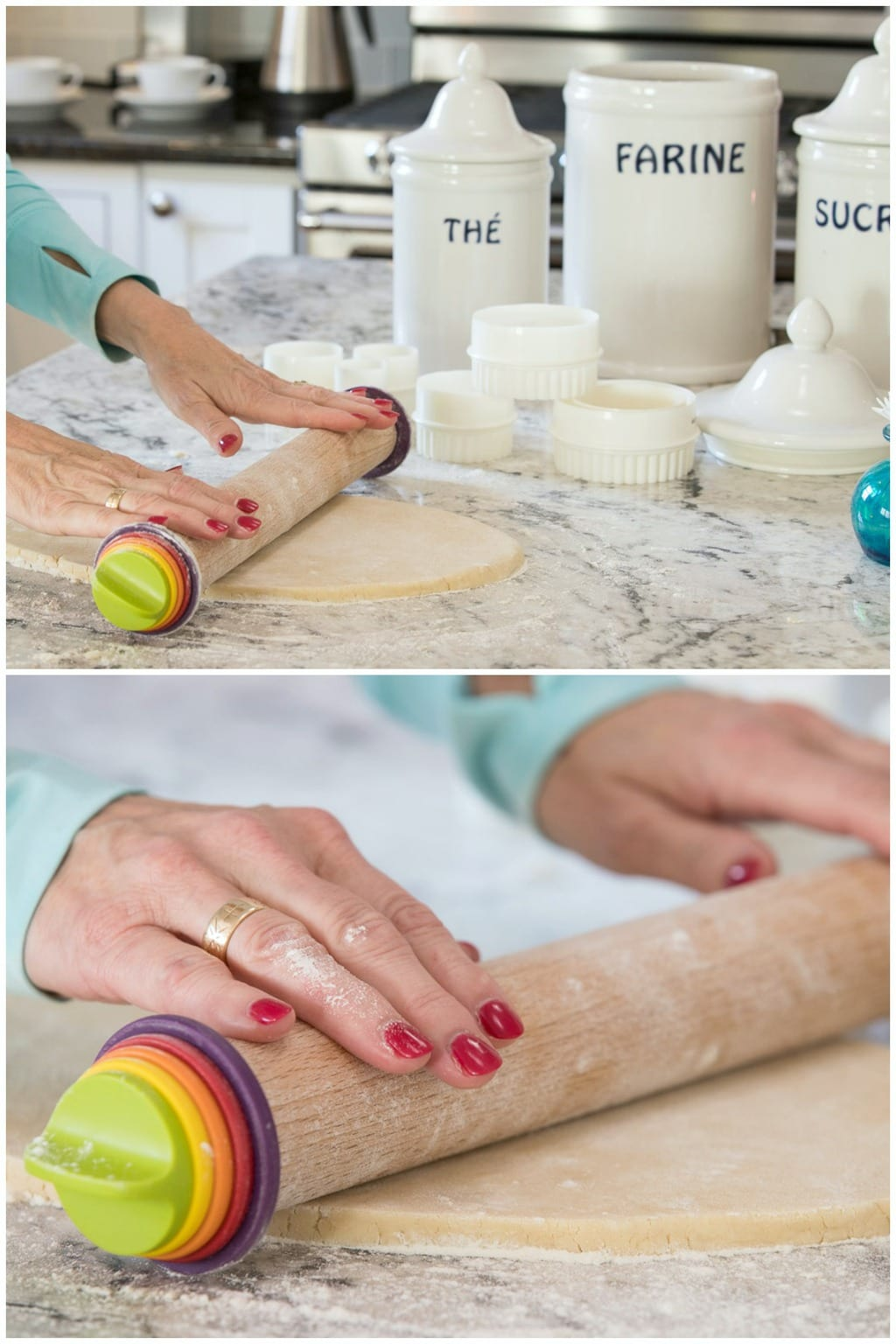 Photo of the special rolling pin used for making Christmas Tree Shortbread Cookies.