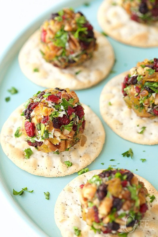 Rosemary Pecan Goat Cheese Truffles - a super fun, easy, make ahead appetizer, perfect for topping a cracker, crostini or wedge of warm pita. Delicious! thecafesucrefarine.com