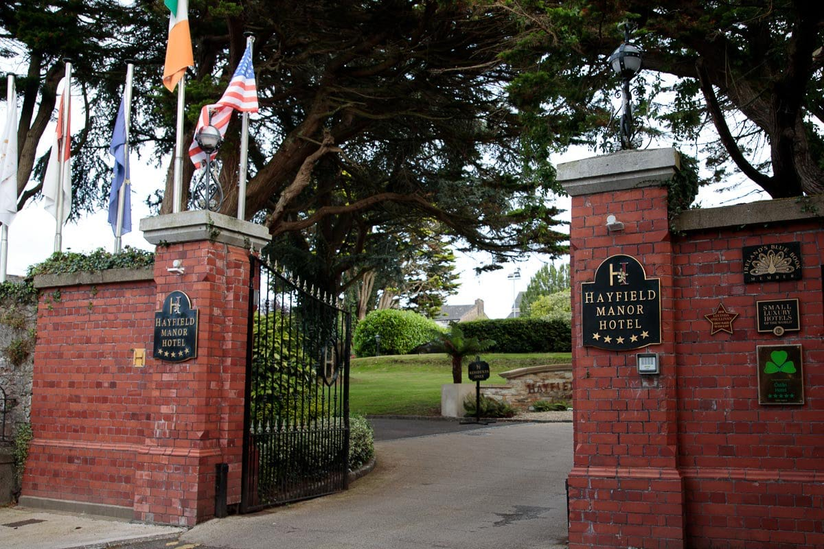 Photo of the Hayfield Manor Hotel entrance in Cork, Ireland.