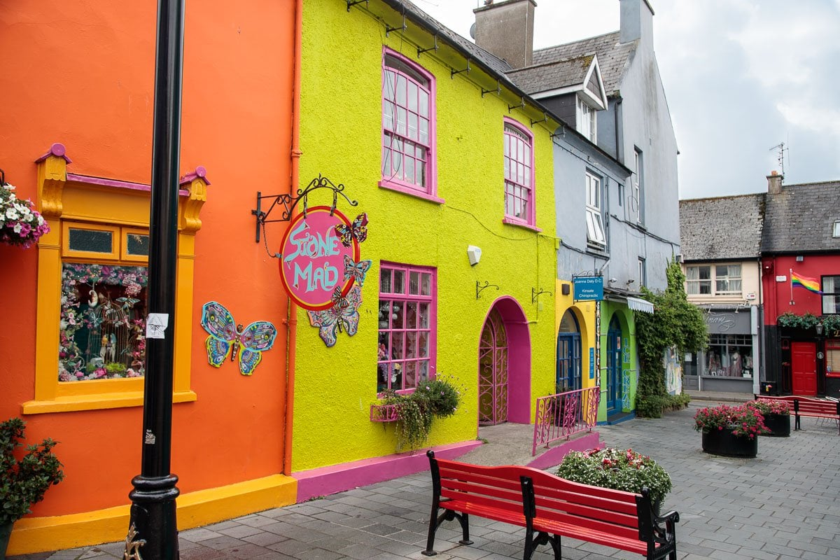 Photo of colorful store fronts in Kinsale, Ireland.
