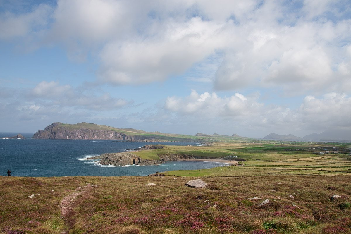 Photo of the coastline along the Dingle Peninsula in Ireland.