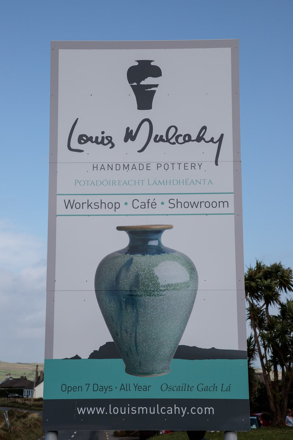 Photo of the Louis Mulcahy pottery studio along the coastline in the Dingle Peninsula, Ireland.