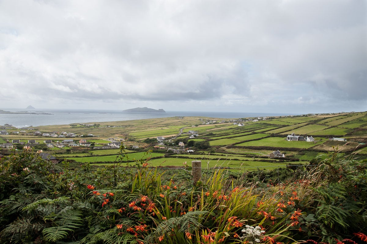 Photo of the land and sea around the Dingle Peninsula in Ireland.