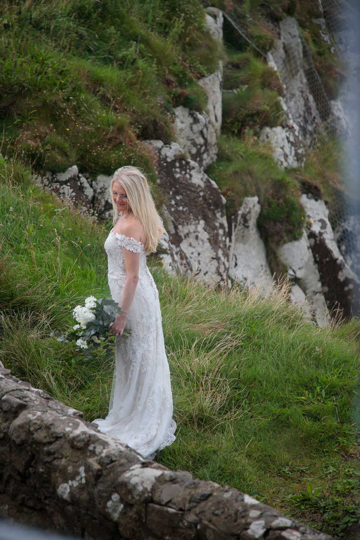 Photo of Kacey after her wedding at Temple Mussenden.