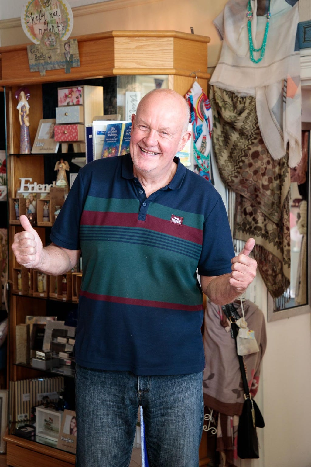Photo of the proprietor of a gift shop in Whiteabbey, Northern Ireland, just outside of Belfast.