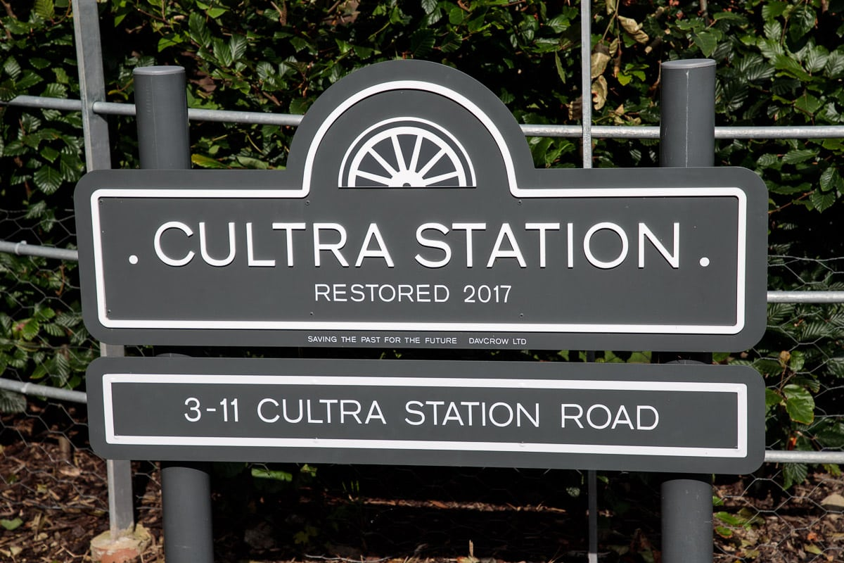 Photo of the Cultra train station sign.