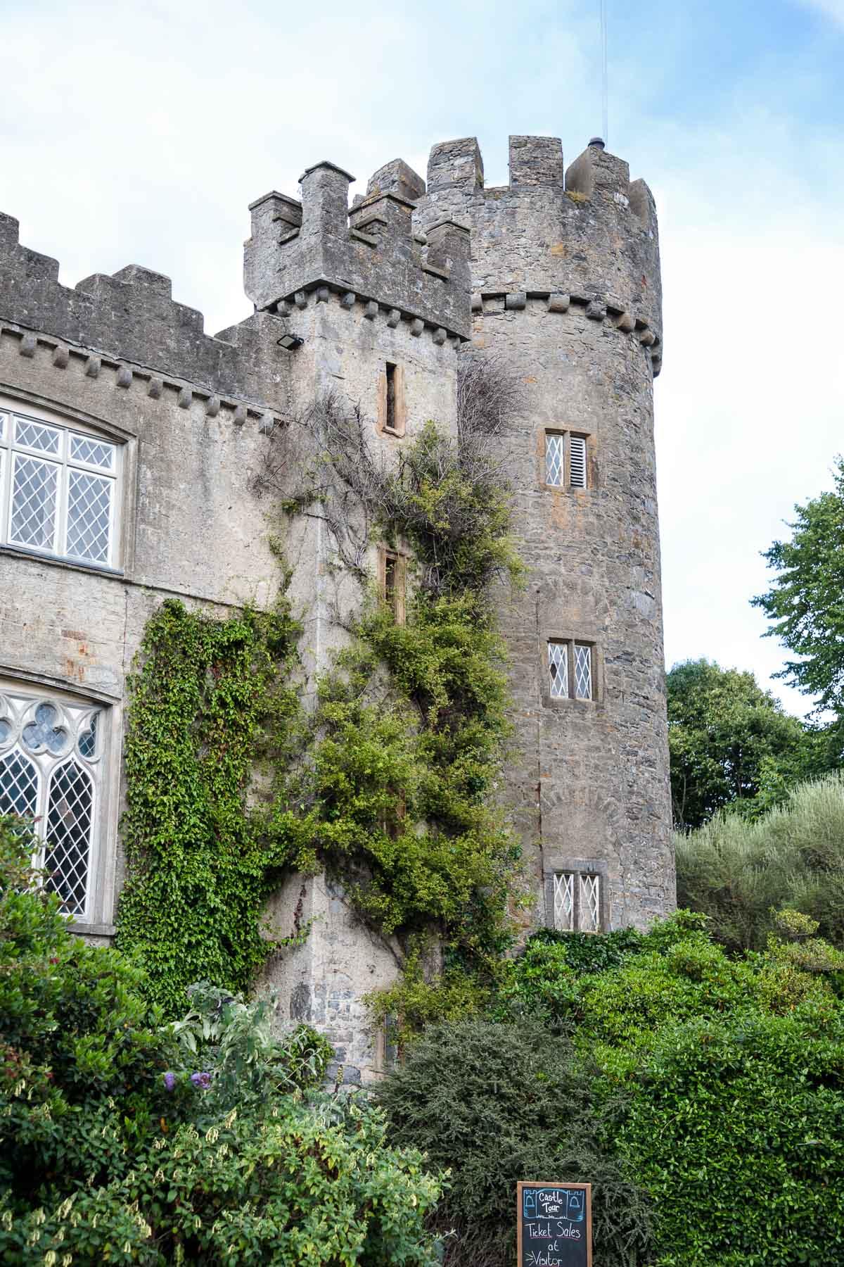 Photo of the side of Malahide castle in Malahide, Ireland