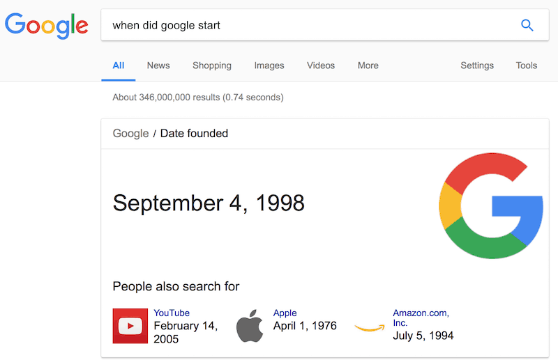 "Screen shot of the search ""When did Google start?"""
