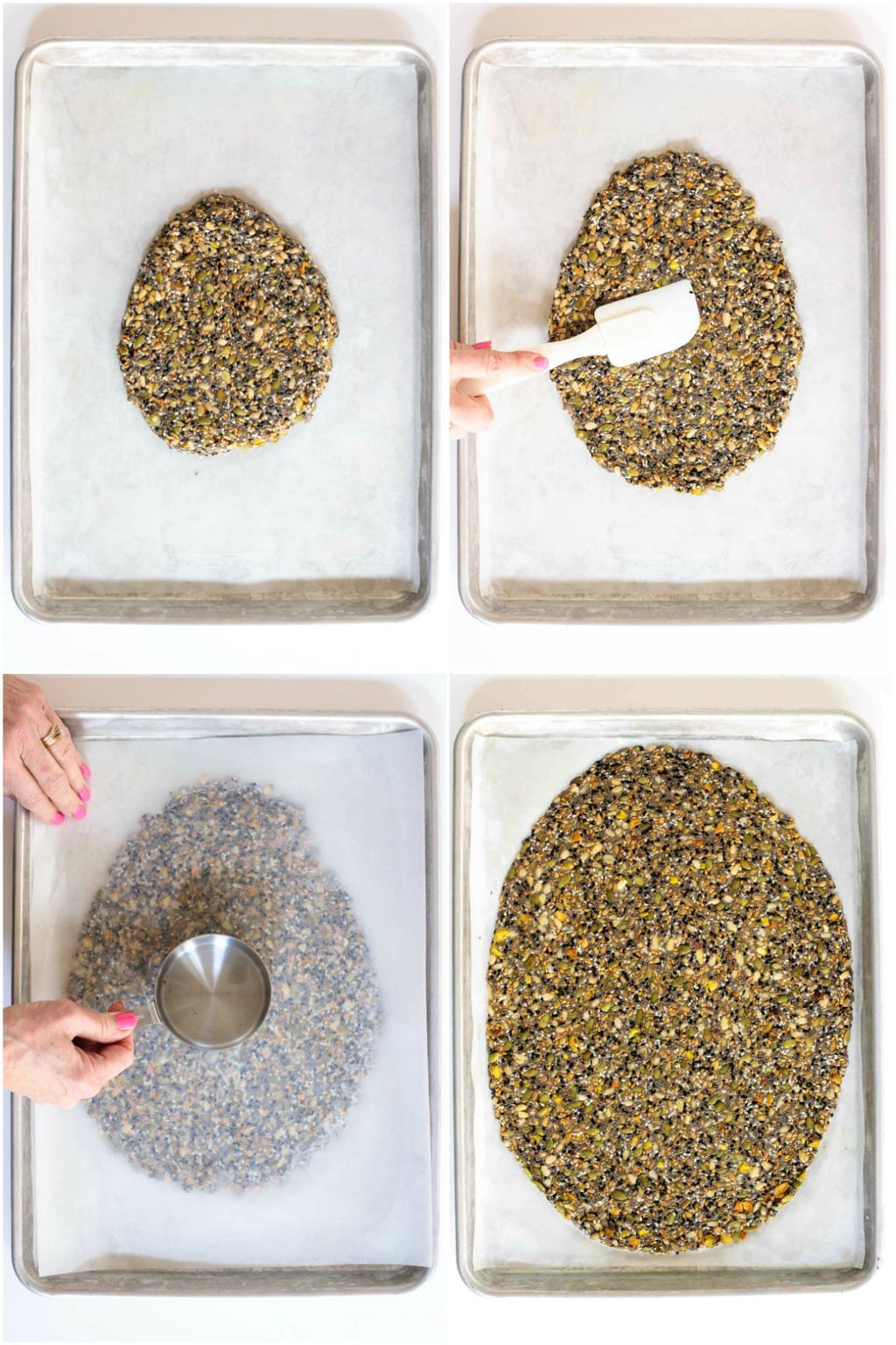 Photo collage of steps for making Easy Pine Nut Seeded Crackers.