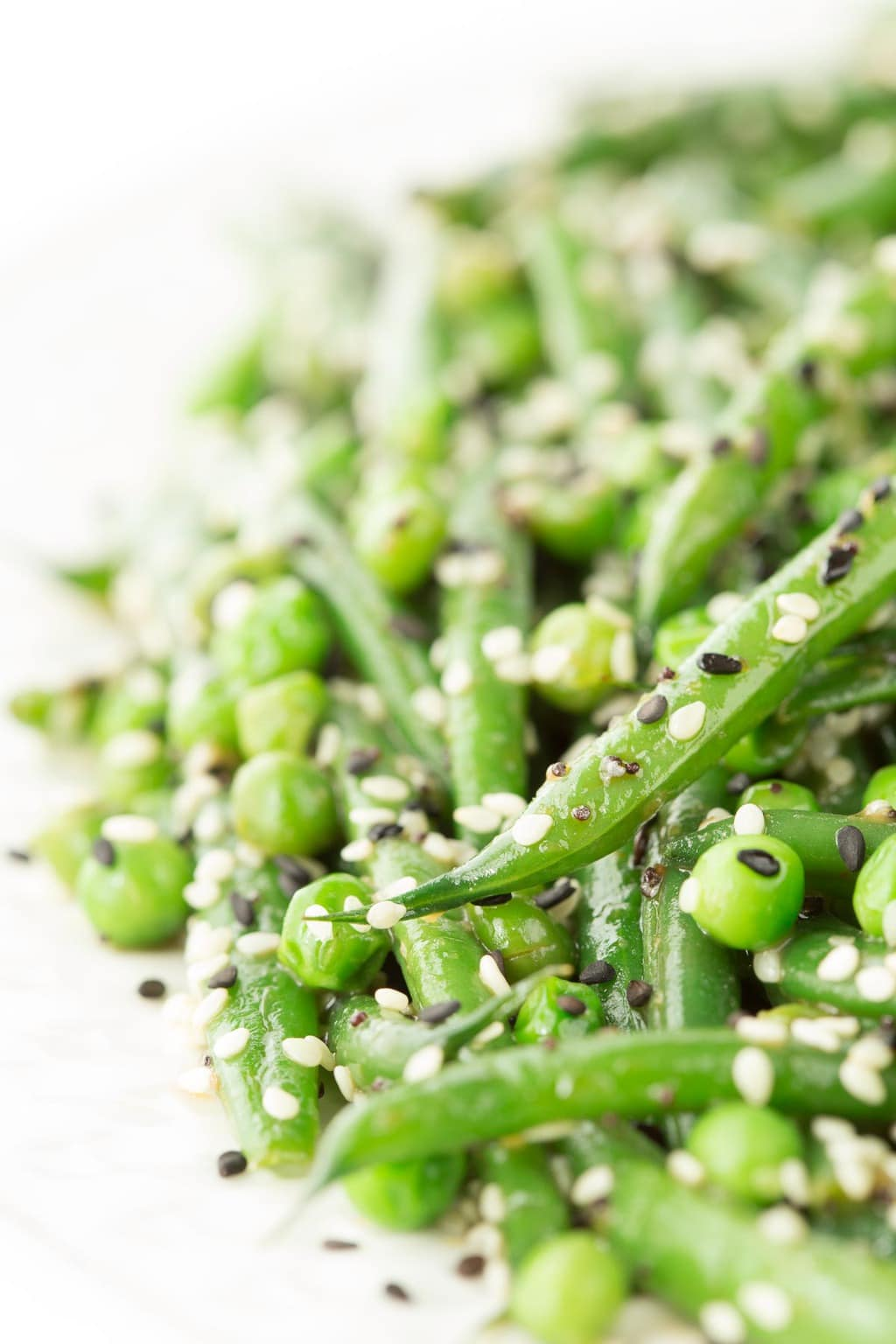 Closeup photo of a plate of Sesame Ginger Green Bean Salad.