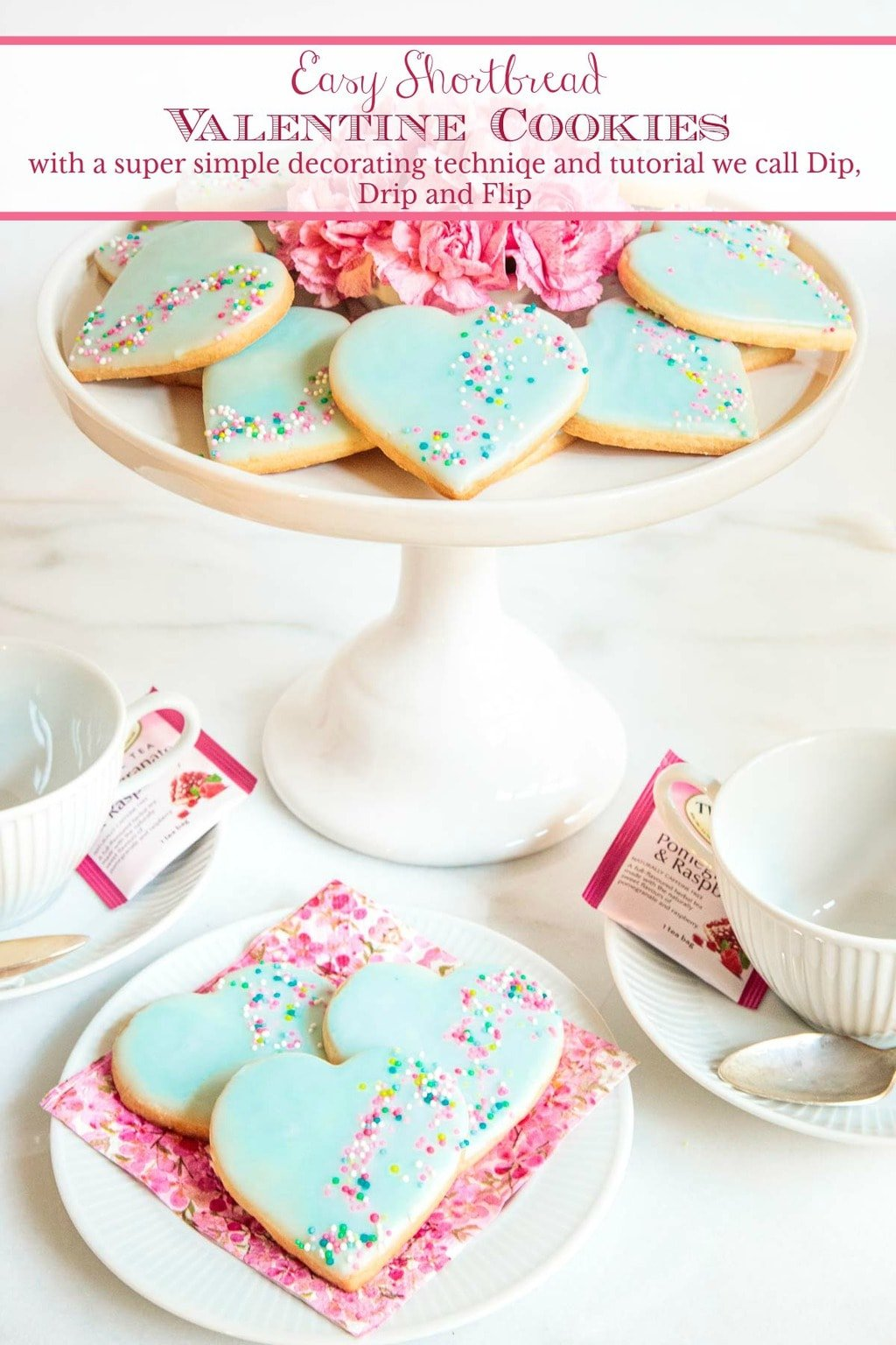 The beauty of theseeasy Shortbread Valentine Cookies is not skin deep! They\'re super pretty and also sweet, buttery and melt-in-your-mouth delicious! #valentinecookies, #easyvalentinecookies, #easycookiedeccorating, #dipdripandflip