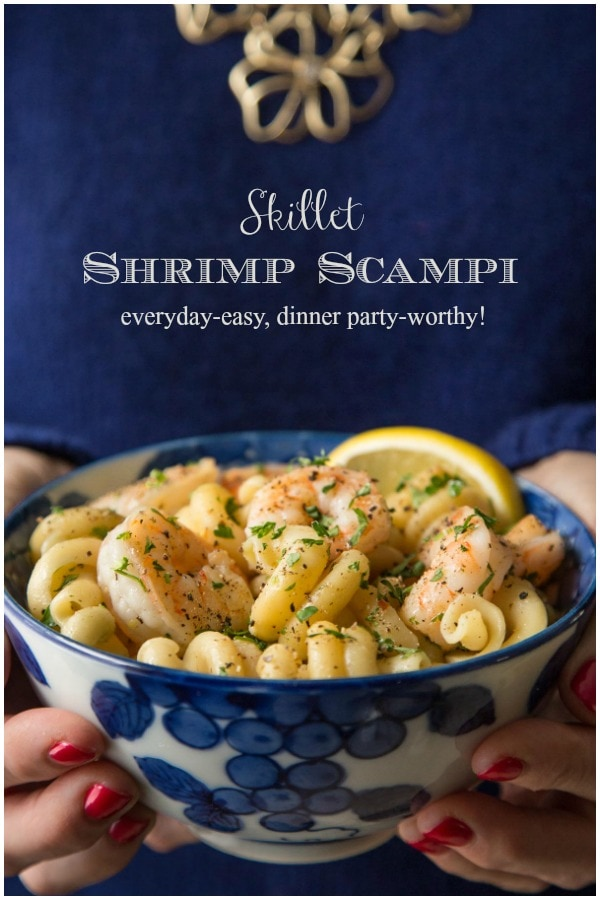 Skillet Pasta Shrimp Scampi - a one-pot, easy, 45-minute weeknight dinner, delicious and elegant enough for a dinner party! #shrimp scampi, #easydinner, #whatsfordinner, #easyshrimprecipe