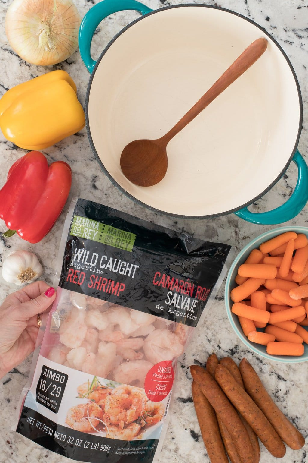 Overhead photo of the ingredients for making Shrimp and Andouille Gumbo using Marina Del Ray brand shrimp.