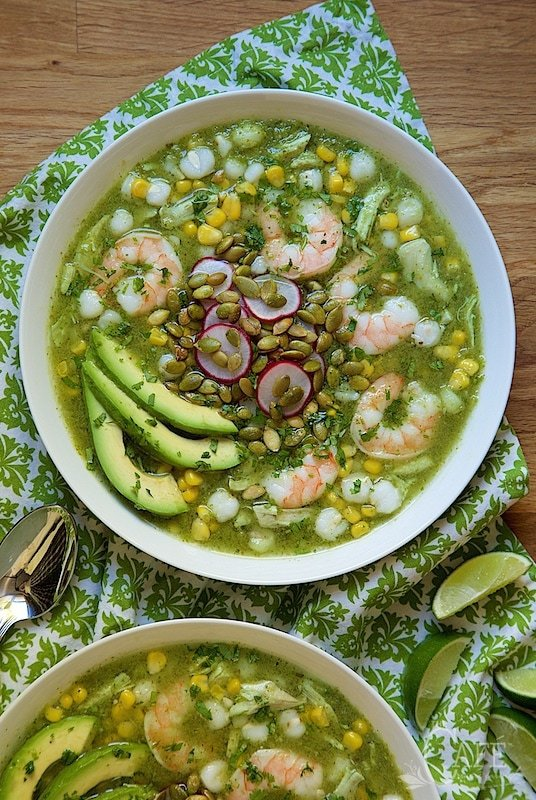 Shrimp and Chicken Pozolé Verde - light, healthy and crazy delicious, this Mexican-inspired soup/stew is easy enough for everyday dinners but it's also great for entertaining because it's almost completely make ahead and so pretty!