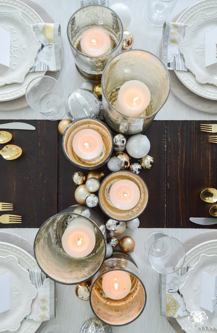 Photo of a candle-based tablescape by Kelley Nan at Gracious Living.