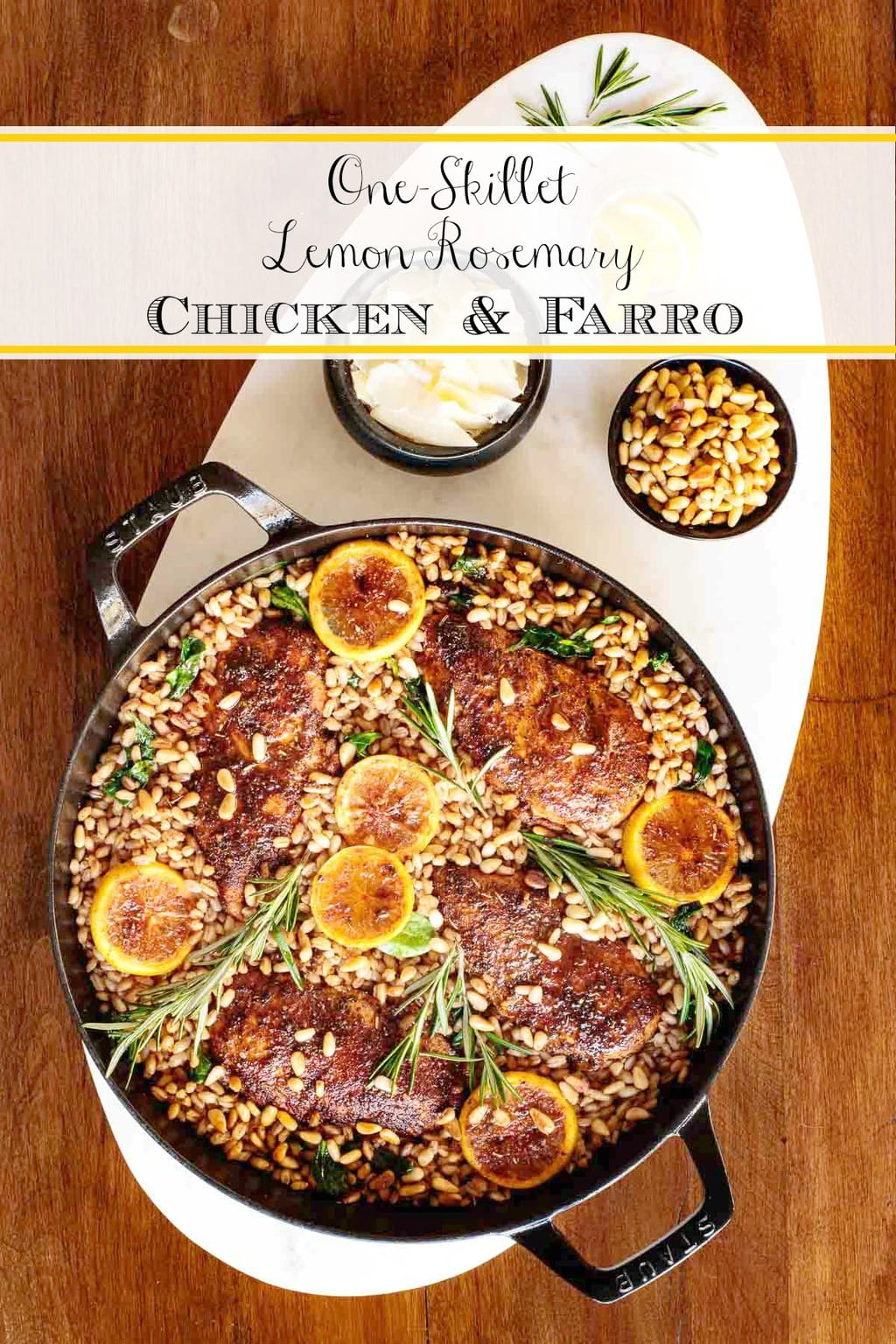 With juicy, tender chicken, healthy farro and loads of fresh spinach, this hearty, delicious Lemon Rosemary Chicken and Farro is an easy meal in one pan! #lemonrosemarychicken, #chickenandfarro, #easychickenbreastdinner, #healthychickendinner