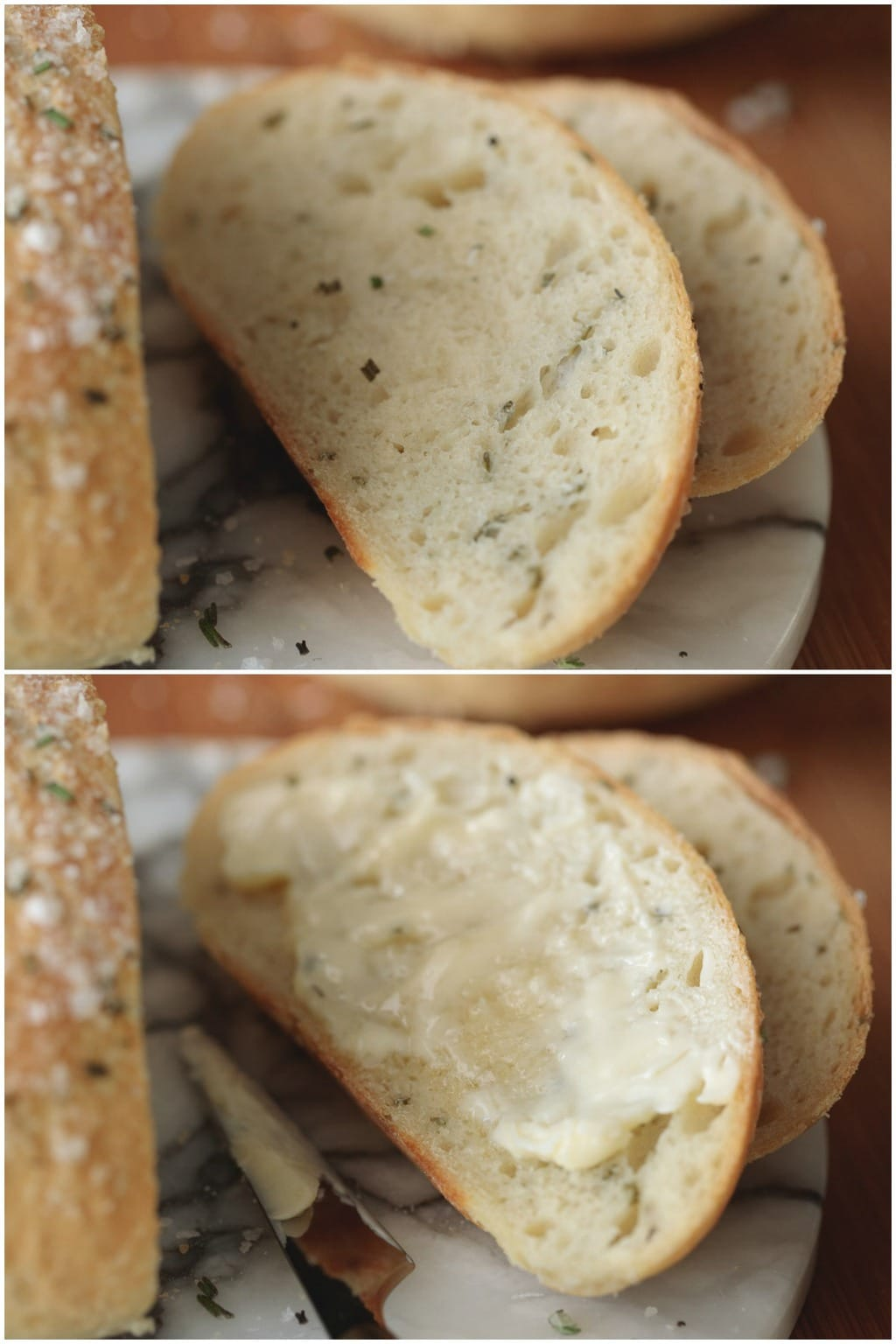 Two photo collage of slices of Ridiculously Easy Rosemary Bread.