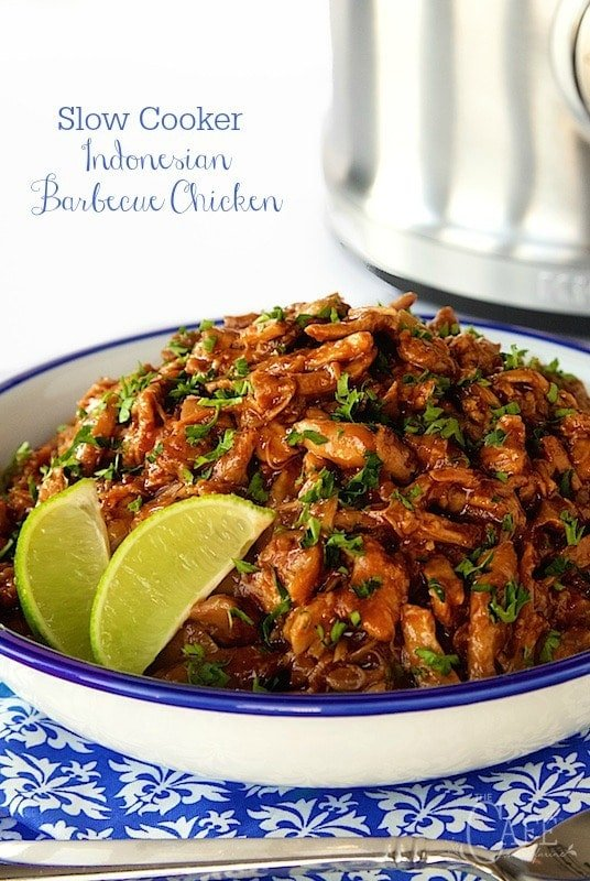 Slow Cooker Indonesian Barbecue Chicken - throw everything in the slow cooker and your work is done. The magic comes next, as the chicken and sauce are melded together and the result is super tender, crazy delicious barbecue chicken. thecafesucrefarine.com