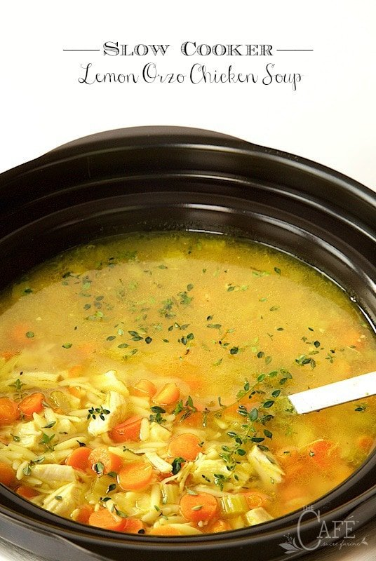 Slow Cooker Lemon Orzo Chicken Soup - for those days that you want a delicious dinner ready with minimal effort. thecafesucrefarine.com