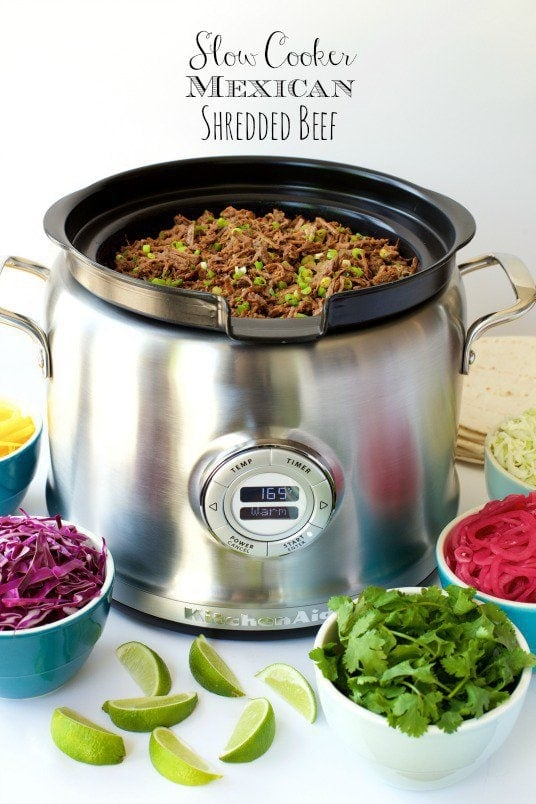 Slow Cooker Mexican Shredded Beef -is perfect for all sorts of south-of-the-border entrees - tacos, enchiladas, burritos, tamales, Mexican salads, etc. And the slow cooker does most of the work! thecafesucrefarine.com