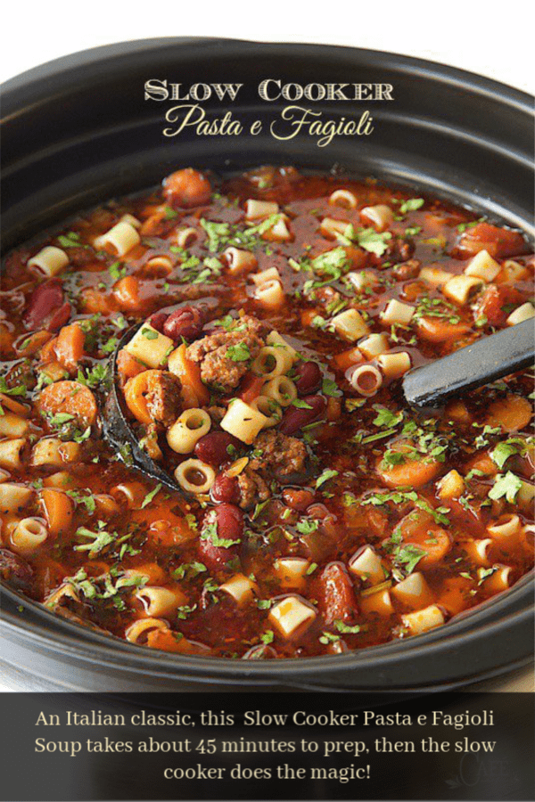 A classic Italian soup, this delicious Slow Cooker Pasta e Fagioli Soup takes about 45 minutes to prep, then the slow cooker does the magic! #pastaefagiolisoup, #italiansoup, #soupwithgroundbeef, #slowcookersoup