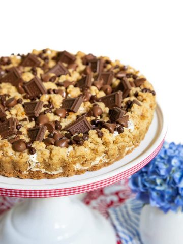 Vertical picture of S'mores Shortbread Tart on a white cake stand
