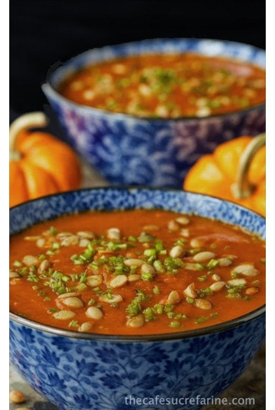 Southwestern Pumpkin Soup - A delicious soup with a little Southwestern kick! Loaded with healthy veggies, this is a sure winner!