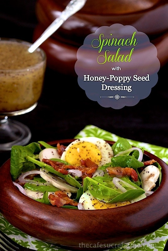 Spinach Salad with Poppyseed Dressing - a delicious, classic salad everyone seems to go crazy over. thecafesucrefarine.com
