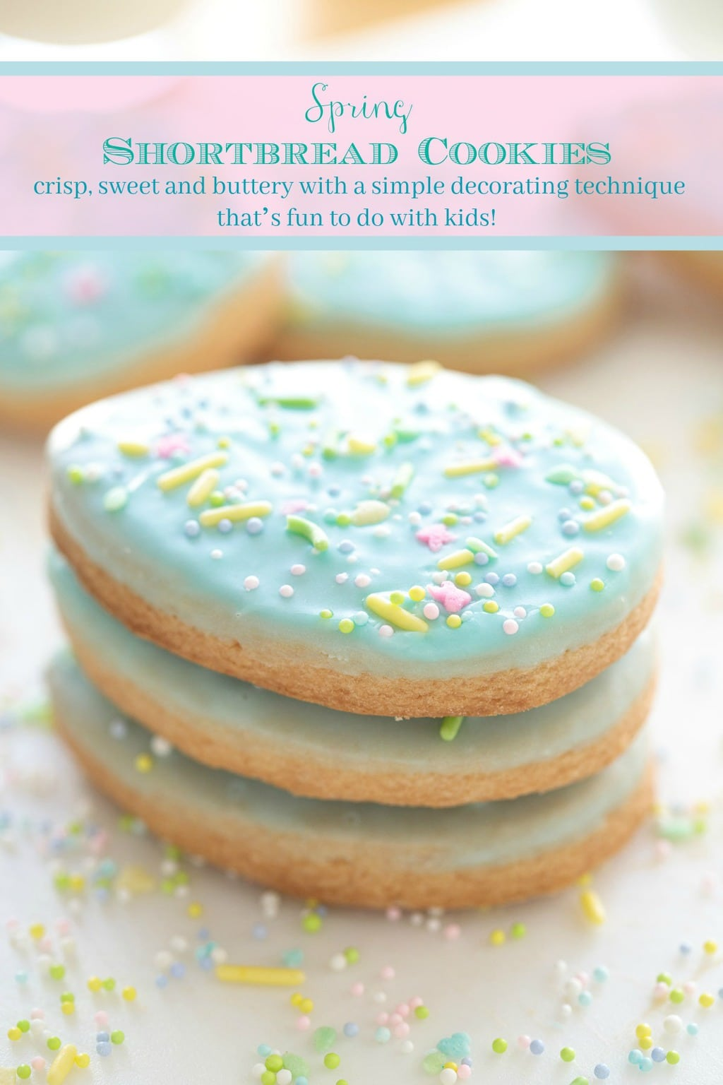 These delicious Spring Shortbread Cookies are crisp, buttery and have a simple decorating technique that\'s fun to do with kids! #easterdessert #easter #eastercookies #easy #easydecorating #shortbread #glazedcookies