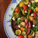 Steak and Potato Arugula Salad - a fresh yet hearty entree with steak, warm potatoes and a delicious champagne vinaigrette, this healthy salad is a meal in a bowl easy enough for every day, elegant enough for a dinner party