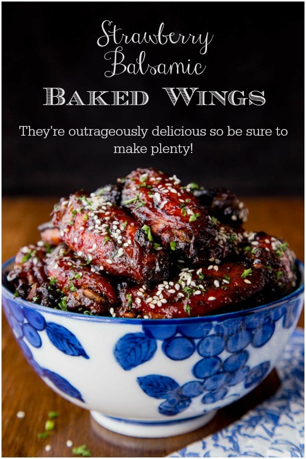 These Strawberry Balsamic Glazed Wings are baked, not fried and so EASY. They\'re also outrageously delicious so be sure to make plenty!#bakedwings, #easywingrecipe, #balsamicwings, #superbowlfood