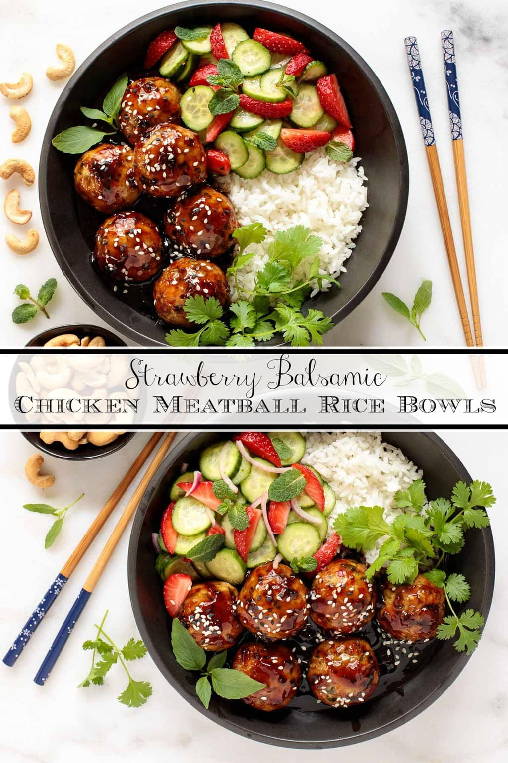 With a delicious sweet and spicy sauce and a bright, fresh strawberry-cucumber salad, these Chicken Meatball Rice Bowls make a healthy, beautiful meal! #asianricebowl, #chickenmeatballs, #asianchickenmeatballs, #easyasianricebowl, #healthychickenricebowl