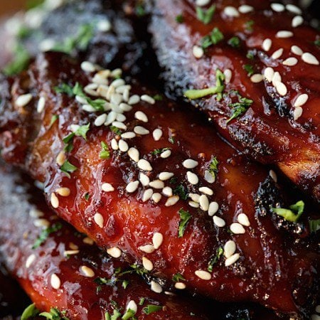 Strawberry Balsamic Glazed Wings - just a warning, these are totally addictive. They're also baked, not fried and EASY!