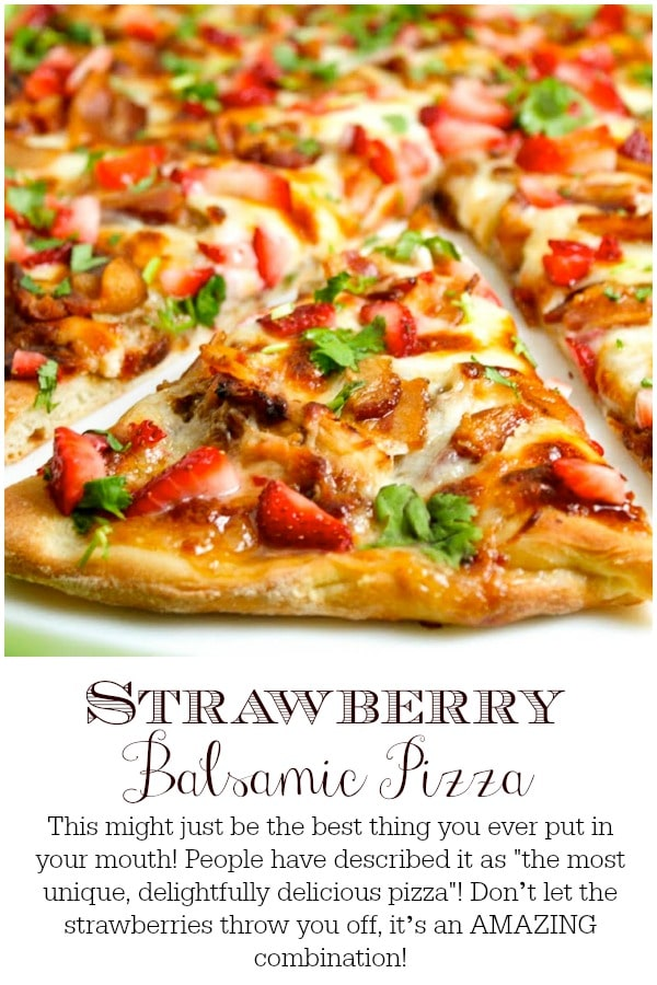 The most unique, delightfully delicious pizza you\'ll ever sink your teeth into! Don\'t let the strawberries throw you off, it\'s an AMAZING combination!! #bestpizza, #strawberrypizza, #baconpizza