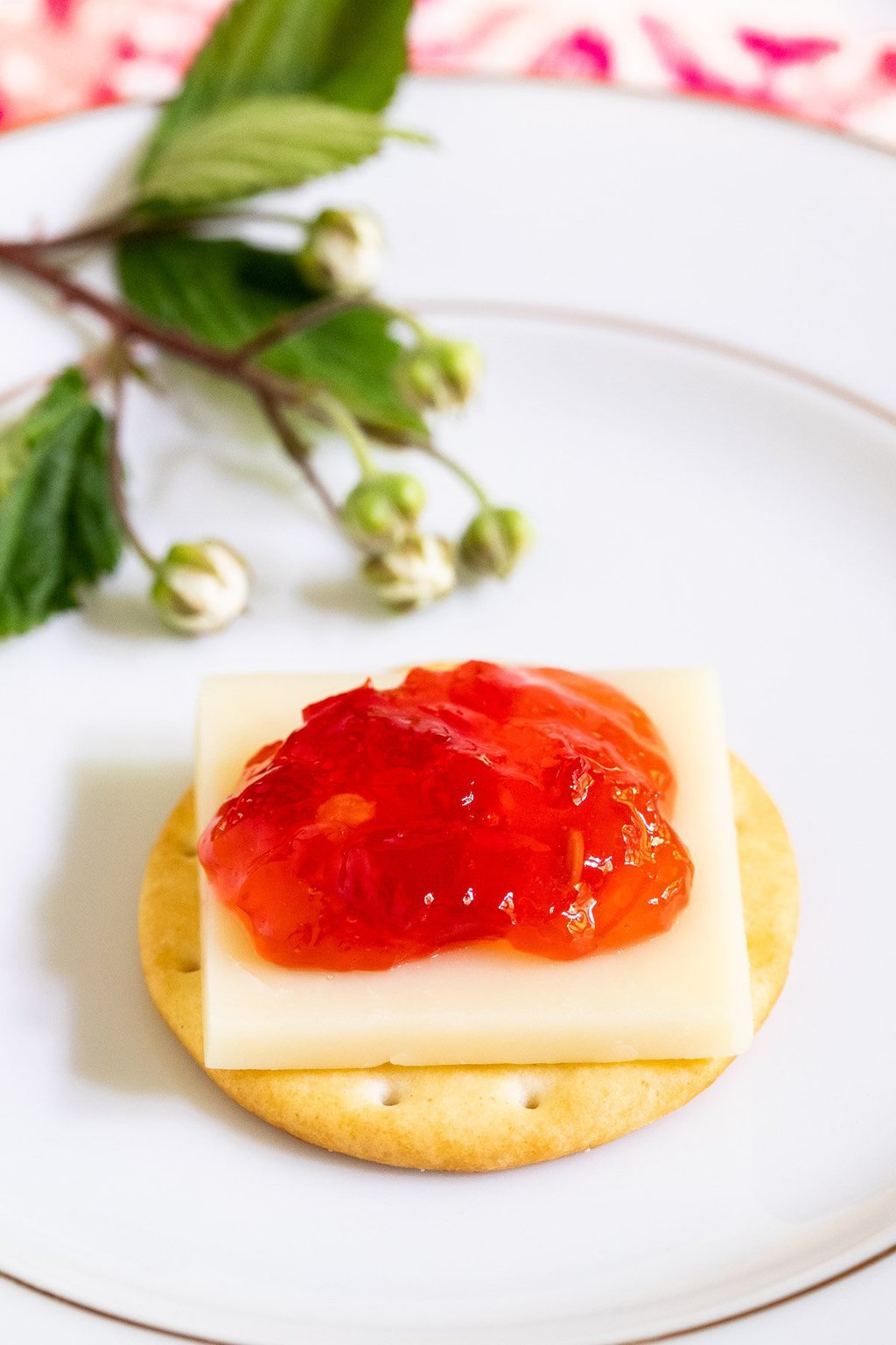 Vertical closeup of an appetizer cracker with cheese and Strawberry Habanero Pepper Jelly on top.