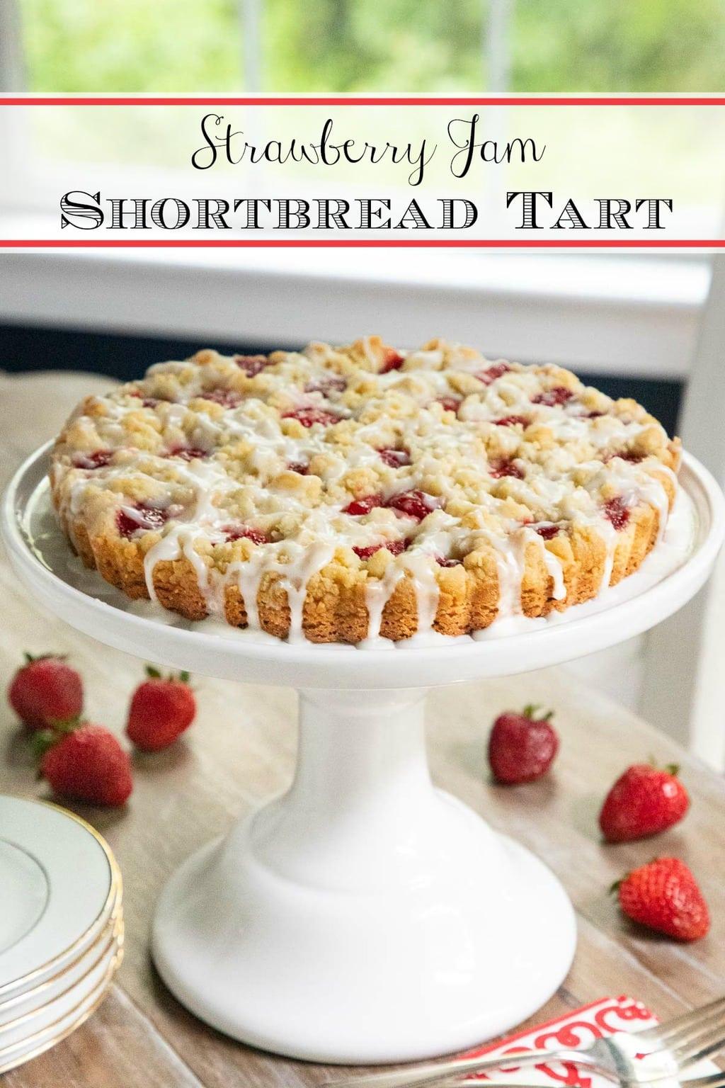 Strawberry Jam Shortbread Tart