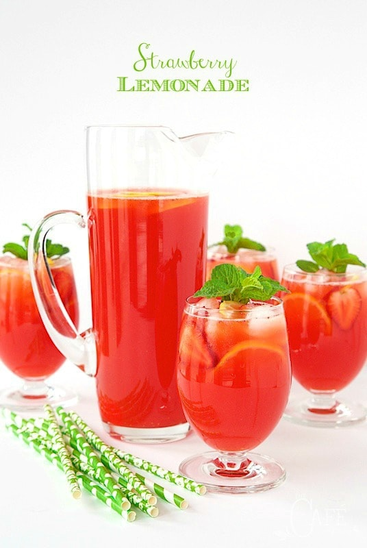 "Strawberry Lemonade - easy, homemade lemonade, from scratch. It''s super fresh, incredibly delicious and truly the ""essence"" of summer! thecafesucrefarine.com"